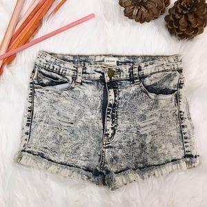 Sneak Peek Distressed Acid Wash Cut Off Shorts